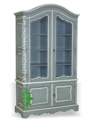 Glass Cabinet French Grey White Painted Furniture Manufacturer